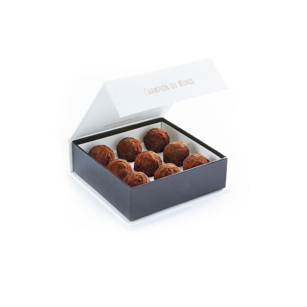 Coffret de 9 truffes ganache vanille et chocolat noir