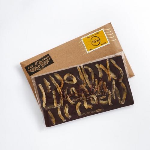 Tablette chocolat noir et yuzu confit 62% de cacao