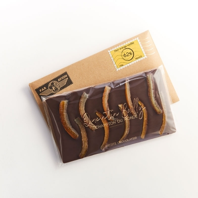 Tablette chocolat noir et oranges confites 62% de cacao