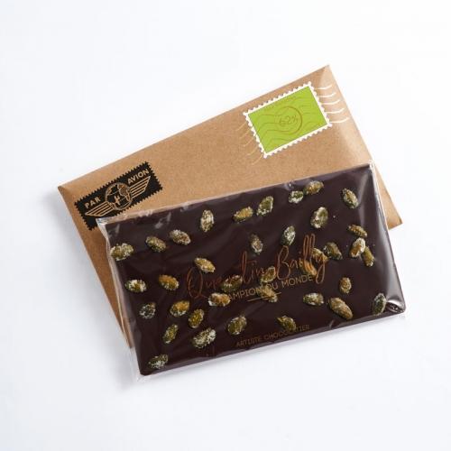 Tablette chocolat noir 62% de cacao et pistache sablée